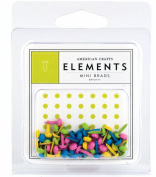 American Crafts Elements Mini Brads, Brights