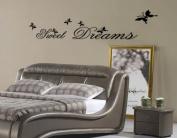 Toprate(TM) Sweet Dreams & Butterflies Wall Decal Sticker Black - Small Size 25cm H x 70cm W