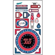 Red White and Blue Patriotic Cardstock Scrapbook Stickers