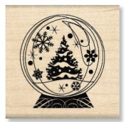 Winter Holiday Snow Globe Wood Mounted Rubber Stamp