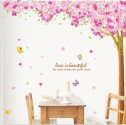 Hunnt® Large Pink Sakura Flower Cherry Blossom Tree Wall Sticker Decals PVC Removable Wall Decal for Nursery Girls and Boys Children's Bedroom