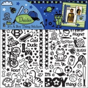 Hot Off The Press Dazzles Stickers 15cm x 23cm 3 Sheets-Black It's A Boy Thing