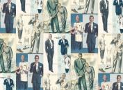 Rossi Decorative Paper- Vintage Mens Fashion Illustrations 70cm x 100cm Sheet