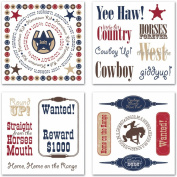 Cowboy Impress-Ons Swatch Pack Rub-Ons-11cm x 11cm Sheets 4/Pkg.