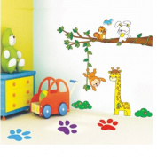 Giraffe Monkey Tree Removable Wall Sticker Decals Wallpaper For Children kids LW6902