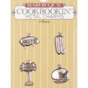 BBQ Bar-b-que Metal Scrapbook Charms Set of 4 - Pig, Hot Dog, Grill, Hamburger