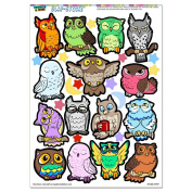 Cute Cartoon Owls SLAP-STICKZ(TM) Party Scrapbook Craft Car Window Locker Stickers