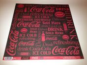 Coke Coca Cola Red Word Collage 30cm x 30cm Scrapbook Paper