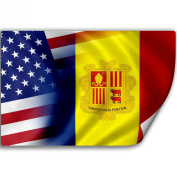 Sticker (Decal) with Flag of Andorra and USA