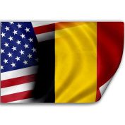 Sticker (Decal) with Flag of Belgium and USA