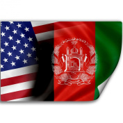 Sticker (Decal) with Flag of Afghanistan and USA