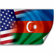 Sticker (Decal) with Flag of Azerbaijan and USA