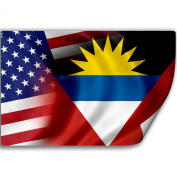 Sticker (Decal) with Flag of Antigua And Barbuda and USA