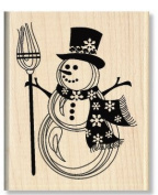 Snowman Snowflake Scarf Wood Mounted Rubber Stamp