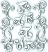 Jolee's Boutique Cabochons Dimensional Stickers, Silver Flourishes