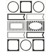 SRM Labels By The Dozen-Black & White Blank