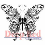 Deep Red Cling Stamp 7.6cm x 7cm -Butterfly Swirl