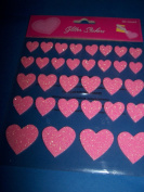 Heart Glitter Stickers Pink