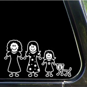 Mom, daughters, dog Family Stick People Car Decals Stickers