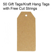 Wrapables 50 Gift Tags/Kraft Hang Tags with Free Cut Strings for Gifts, Crafts & Price Tags - Original Tag