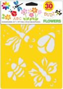 "Stencil Mania Stencils 18cm ""X10"""" 3/Pkg-Flowers"