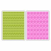 Sizzix Textured Impressions Embossing Folders 2/Pkg-Dots/Zig Zags & Dots/Flowers
