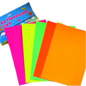 A4 Coloured Fluorescent Card - 10 Sheets - 2 of Each, Yellow, Green, Orange, Pink & Red - 297mm X 210mm
