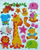 Jazzstick Animal Adhesive Foam Kids Room/Nursery Decorative Wall Sticker A4 size