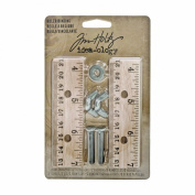 Ruler Binding Kit by Tim Holtz Idea-ology, 2 Rulers and Fasteners, Multicoloured, TH93077