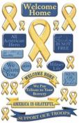 Creative Imaginations - Signature Military Collection - Epoxy Stickers - Yellow Ribbon