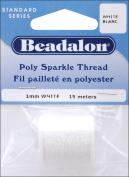 Beadalon Poly Sparkle Thread 1mm 49'/Pkg-White