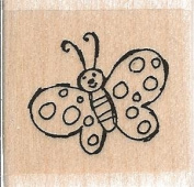 Dotted Butterfly Wood Mounted Rubber Stamp