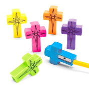 Colourful Cross Shaped Pencil Sharpeners