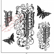 Something Tattered Clear Stamps, 10cm by 10cm , Monogram Initial P