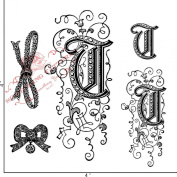 Something Tattered Clear Stamps, 10cm by 10cm , Monogram Initial T