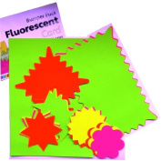 Assorted Coloured Fluorescent Card, Stars, Flashes & Clouds Pricing Cards. Pack of 28 - Mixed Sizes & Colours - Green, Yellow, Pink, Orange