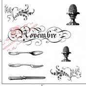 Something Tattered November Novembre French Month Clear Stamps, 10cm by 10cm