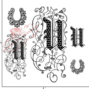 Something Tattered Clear Stamps, 10cm by 10cm , Monogram Initial U