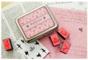9 Kinds Korea DIY Woodiness Rubber Stamp- Tin Box Set -Ballerina