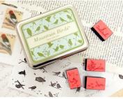 9 Kinds Korea DIY Woodiness Rubber Stamp- Tin Box Set -Mountain Birds