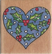 Holly Heart Wood Mounted Rubber Stamp