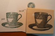 Tea cup rubber stamp