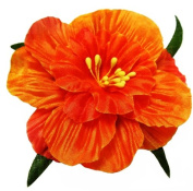 Cuteque International 6-Pack Orange Soft Silk Cosmo Flower with Yellow Peep Centre, 7.6cm