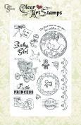 Crafty Secrets Medium Art Stamp, Baby Girl, Clear