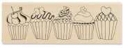 5 Cupcakes rubber stamp