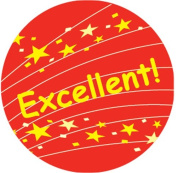 Ace Label 17489C 'Excellent!' Teacher School Stickers, 2.5cm , Red/Yellow, 100 Per Roll