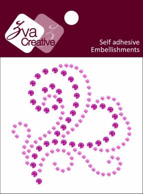 Zva Creative CRX-05CB-116 Crystal Sticker, Pink and Rosy Flourish