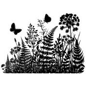 Crafty Individuals Unmounted Rubber Stamp 12cm x 18cm Pkg-Ferns & Butterflies Silhouette