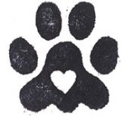 Dog Rubber Stamp - Heart Paw Print-1004C Orig.
