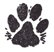 Dog Rubber Stamp - Paw Print With Fur 1003B (Size